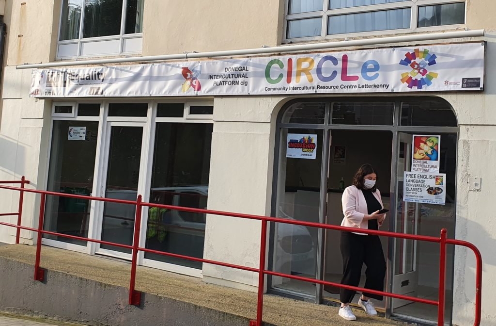 Caitlin of the Think Equality Donegal project outside the new Platform office-DLDC