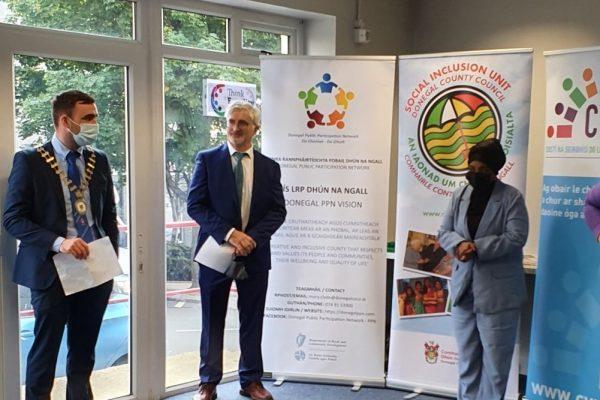 Cathaoirleach Cllr. Jack Murray, Chief Executive John McLaughlin and Platform co-chair Thoiba Ahmed at the launch